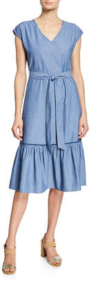 Neiman Marcus Ruffle Tie-Waist Denim Dress