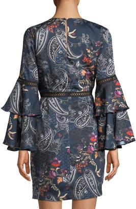 Alexia Admor Paisley Flare-Sleeve V-Neck Dress