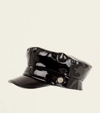 New Look Black Patent Baker Boy Hat 5aa29b65930