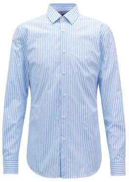 BOSS Hugo Striped Cotton Dress Shirt, Slim Fit T-Scott 16 Light Blue