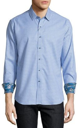 Robert Graham Conor Check Long-Sleeve Sport Shirt, Blue $198 thestylecure.com