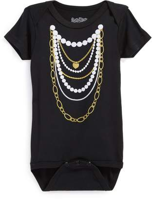 N. Sara Kety Baby & Kids 'Gold 'n Pearls' Short Sleeve Bodysuit