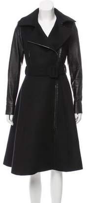 Oscar de la Renta Leather-Accented Wool-Blend Coat