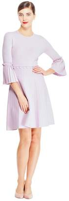Lela Rose Pleated Skirt Knit Dress