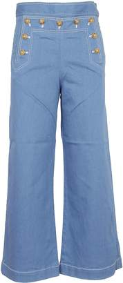 Tory Burch Denim Cropped Sailor Trousers