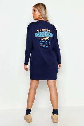 7fdbe83b0b boohoo Plus Slogan Long Sleeve T-Shirt Dress