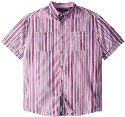 Sean John Men's Big-Tall Short Sleeve Miami Stripe Shirt