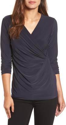 Nic+Zoe Solid Faux Wrap Top