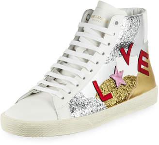 Saint Laurent Love Glitter High-Top Sneakers