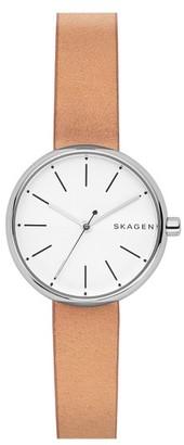 Women's Skagen Round Leather Strap Watch, 30Mm $115 thestylecure.com