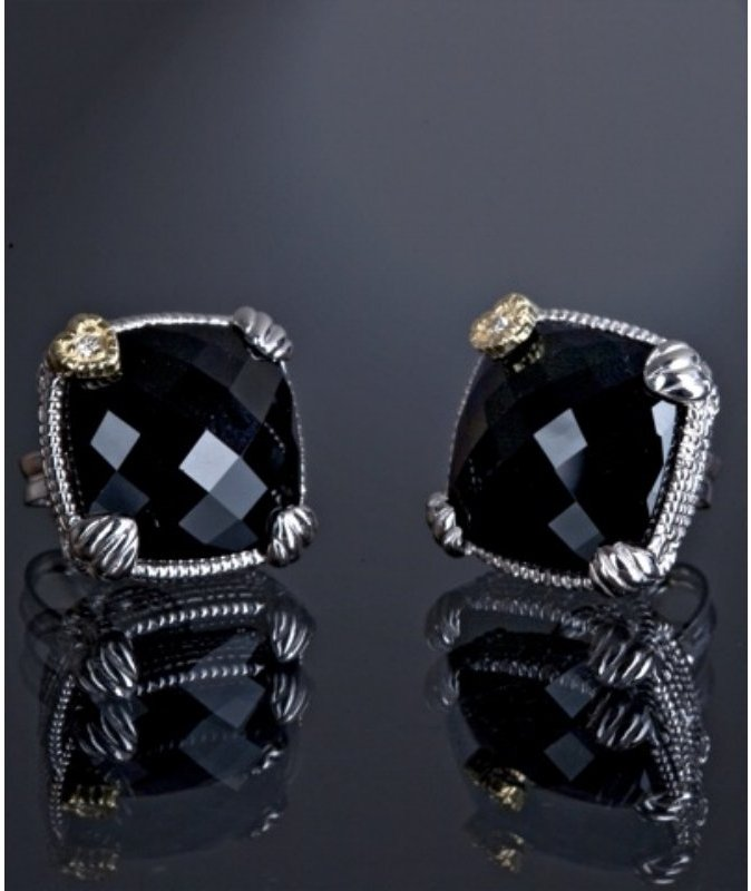 Judith Ripka black onyx and diamond cushion stud earrings
