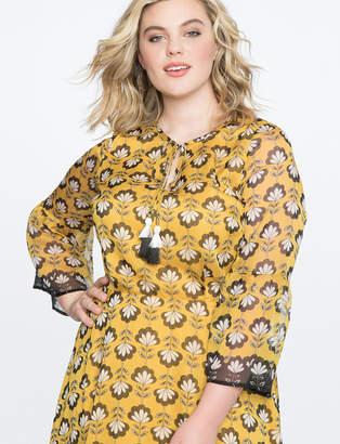 Printed Flare Sleeve Midi Dress