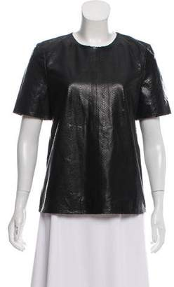 J Brand Leather Short Sleeve Top
