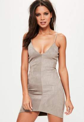 Missguided Grey Bonded Faux Suede Strappy Bodycon Dress