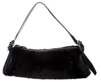 Tod's Python-Trimmed Fur Barrel Bag Black Python-Trimmed Fur Barrel Bag