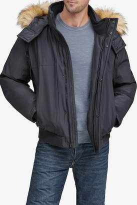Andrew Marc Lowell Faux Fur Trimmed Removable Hood Bomber Jacket