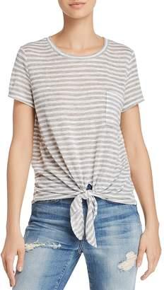 Aqua Tie-Front Pocket Striped Tee - 100% Exclusive