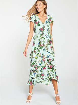 Warehouse Ruffle Verity Midi Dress - Mint