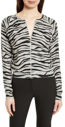 Women's Tracy Reese Zebra Stripe Cotton Zip Front Cardigan $228 thestylecure.com
