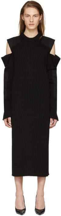 Calvin Klein 205W39NYC Black Cut-Out Shoulder Uniform Knit Dress