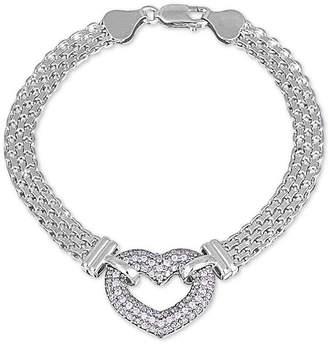 Giani Bernini Cubic Zirconia Heart Bismark Link Bracelet in Sterling Silver