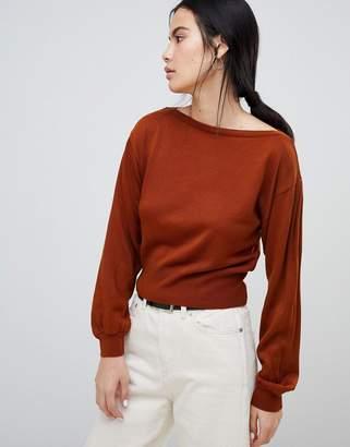 Asos DESIGN sweater in off shoulder shape in fine knit