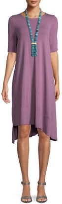 Eileen Fisher Short-Sleeve Lightweight Jersey Asymmetric Dress, Petite