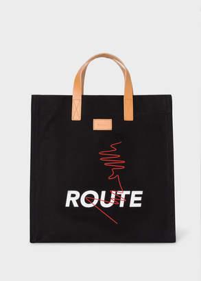 Paul Smith 'Route' Print Black Canvas Tote Bag