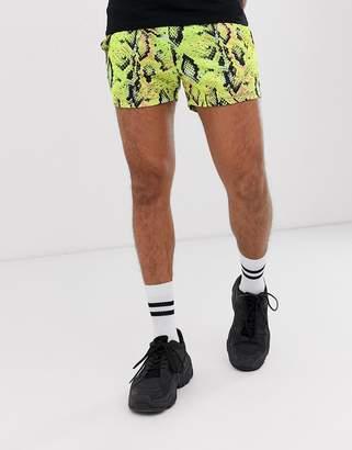 Asos Design DESIGN festival skinny shorts in neon snakeskin print in short length