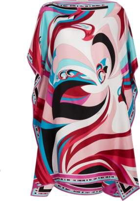 Emilio Pucci Parrot Printed Silk Kaftan Dress