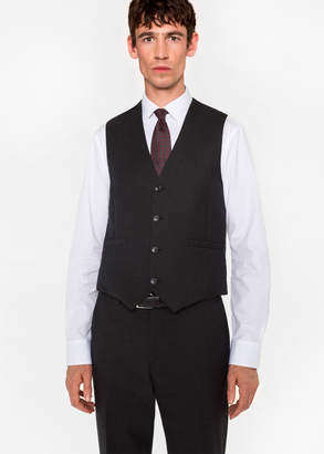Paul Smith A Suit To Travel In - Men's Tailored-Fit Charcoal Grey Wool Waistcoat