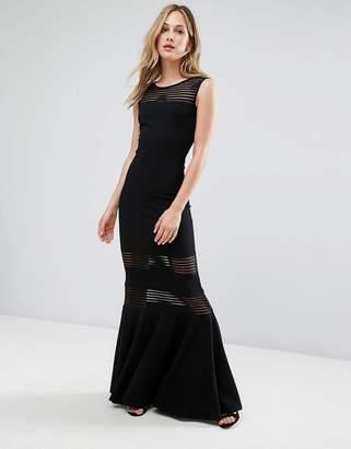 City Goddess Fishtail Maxi Dress With Mesh Inserts