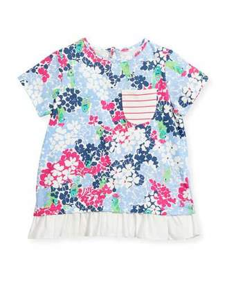 Joules Floral Jersey Short-Sleeve Top, Size 3-6