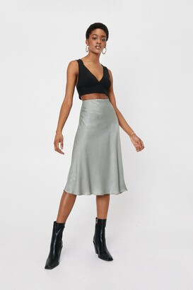 Nasty Gal Touch By Touch Satin Midi Skirt