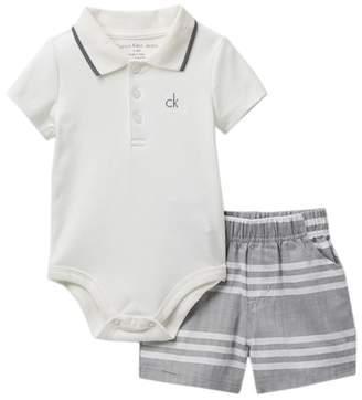 Calvin Klein Polo Bodysuit & Shorts Set (Baby Boys)