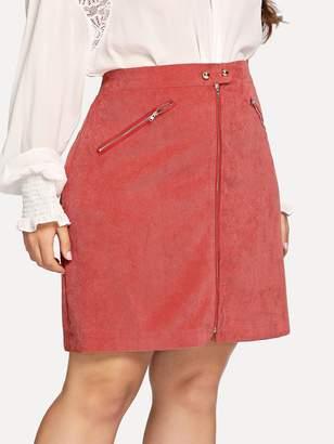 Shein Plus Zipper Up Cord Skirt