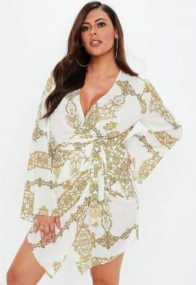 Missguided Plus Size White Chain Print Drape Front Tie Waist Mini Dress