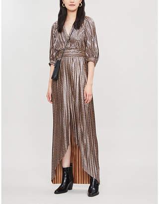 BA&SH Pacey metallic pleated printed chiffon maxi dress