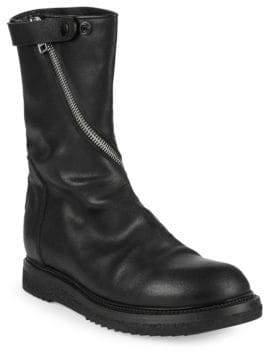 Rick Owens Asymmetric Zip Leather Boots