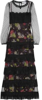 RED Valentino Point D'esprit-Paneled Tiered Floral-Print Chiffon Maxi Dress