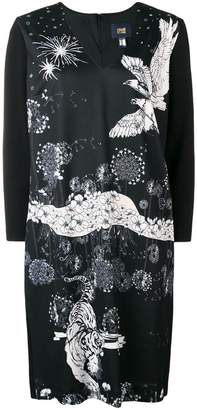 Class Roberto Cavalli v-neck eagle print dress