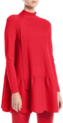 Valentino Mock-Neck Long-Sleeve Scalloped Hem Knit Top