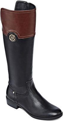 LIZ CLAIBORNE Liz Claiborne Penn Two-Tone Riding Boots $120 thestylecure.com