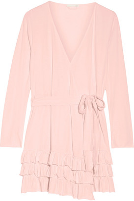 Skin - Grace Ruffled Pima Cotton Robe - Pastel pink $150 thestylecure.com