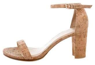 Stuart Weitzman Cork Ankle Strap Sandals