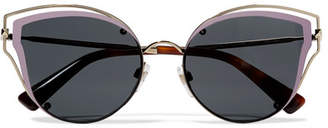 Valentino Cat-eye Acetate And Silver-tone Sunglasses - one size