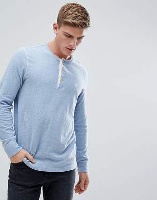 Abercrombie & Fitch Henley Contrast Placket Long Sleeve Top Logo in Blue Marl