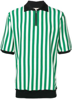 Marni striped zip-up polo shirt