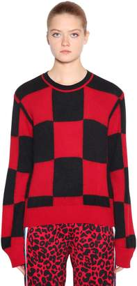 N°21 Checkered Wool Angora Intarsia Sweater