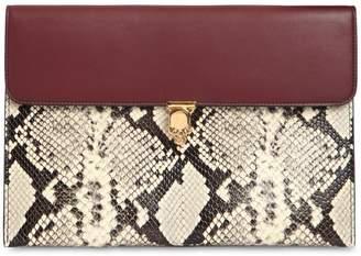 Alexander McQueen Python Printed Leather Envelope Clutch